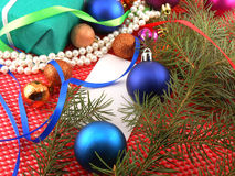 Christmas decoration and balls, new year tree branch Stock Photography