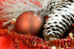 Christmas decoration with balls and pine cone Royalty Free Stock Images