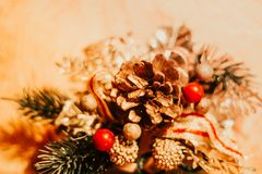 Christmas decoration with balls and pine cones stock image