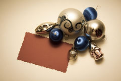 Christmas decoration balls and pines. New year and Christmas concept background with decorations and copy space Royalty Free Stock Photography