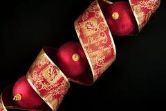 Christmas decoration balls with ribbon Royalty Free Stock Photos
