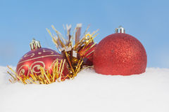 Christmas  decoration  balls on snow Stock Images