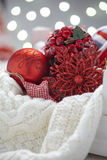 Christmas decoration with balls and snowflake Royalty Free Stock Image