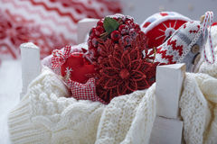 Christmas decoration with balls and snowflake Royalty Free Stock Photo