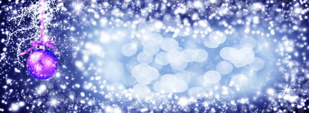 Christmas Decoration For Banner -purple bauble hanging.Christmas Royalty Free Stock Images