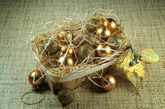 Christmas decoration basket Royalty Free Stock Photography