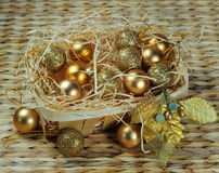 Christmas decoration basket Royalty Free Stock Photos