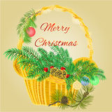 Christmas decoration basket with branches and baubles vector Stock Image