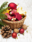 Christmas Decoration in basket Stock Photos