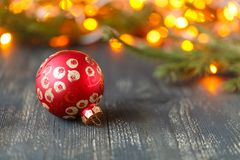 Christmas decoration with bauble. Shallow depth of field, focus on bauble stock image