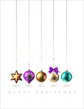 Christmas decoration, baubles, balls, bird and star, vector Royalty Free Stock Images
