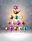 Christmas decoration, baubles, balls, bird and star, vector. Christmas tree made of colored christmas decoration, baubles, balls, bird and star, vector Royalty Free Stock Photo