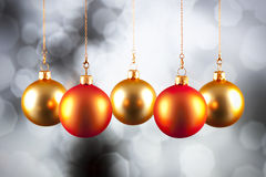 Christmas decoration - baubles on black and white background Stock Photos