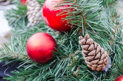 Christmas decoration baubles with branches of fir tree. Christmas decoration baubles with branches of fir tree Royalty Free Stock Images