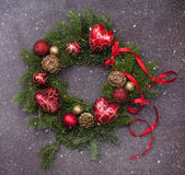 Christmas decoration. Baubles,hart and red ribbon stock photos