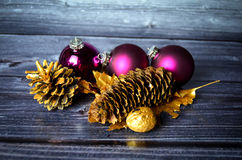 Christmas decoration. With baubles and pine cones Royalty Free Stock Image