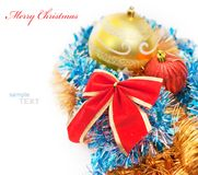 Christmas decoration baubles and red bow isolated Royalty Free Stock Photos
