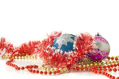 Christmas - decoration baubles and tinsel Stock Image