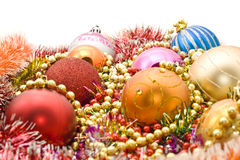 Christmas decoration- baubles, tinsel, beads Royalty Free Stock Photos