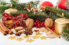 Christmas decoration on a beautiful table Royalty Free Stock Photo