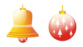 Christmas decoration and bell Stock Photos
