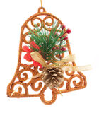 Christmas decoration with bell isolated Stock Photos