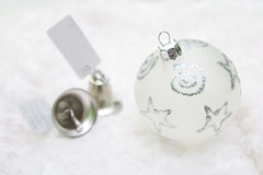 Christmas decoration and bells. Close up christmas decoration with bells on white background Stock Images