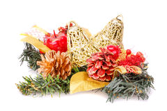 Christmas decoration. With bells, cones  on white background Royalty Free Stock Photography