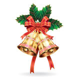 Christmas decoration. Bells and holly leaf. Royalty Free Stock Image