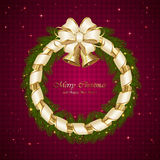 Christmas decoration with bells on purple background Stock Images