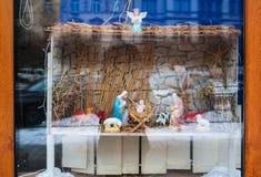Christmas decoration Birth of Jesus on a shop window Royalty Free Stock Photos