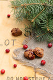 Christmas decoration with biscuits, cranberries and fir tree bra Royalty Free Stock Photography