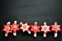 Christmas. Decoration on black background .With copy-space Stock Image