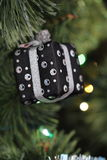 Christmas decoration - black box. With silver elements on christmas tree Stock Photography