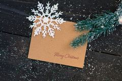 Christmas decoration. Blank christmas card with fir tree and snowflakes Royalty Free Stock Photo