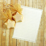 Christmas decoration with blank notebook Stock Images