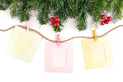 Christmas decoration and blank photo frame royalty free stock image