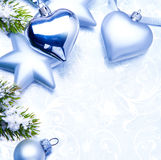 Christmas decoration on blue background Stock Image