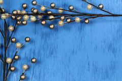 Christmas decoration. On blue background with copy space Stock Image