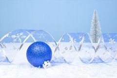 Christmas Decoration on a blue background with copyspace for tex Stock Photo