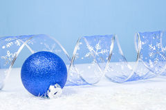 Christmas Decoration on a blue background with copyspace for tex Stock Images
