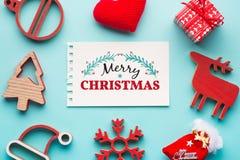 Christmas decoration on blue background Royalty Free Stock Photos
