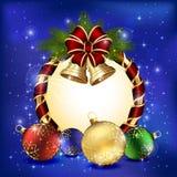 Christmas decoration on blue background Royalty Free Stock Photo