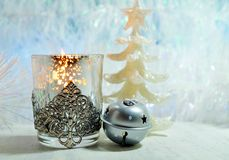 Christmas decoration on a blue background - Tree decoration baubles and christmas candle Royalty Free Stock Photos
