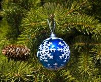 Christmas decoration - blue ball Royalty Free Stock Photos