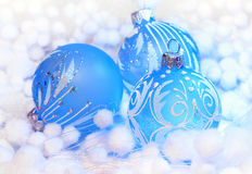 Christmas decoration blue ball Stock Photography