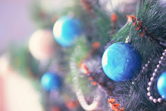 Christmas decoration. Blue ball on new year tree Stock Image
