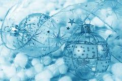 Christmas decoration blue balls Royalty Free Stock Photos