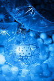 Christmas decoration blue balls Stock Photo