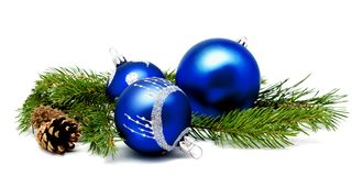 Christmas decoration blue balls with fir cones and fir tree bran Royalty Free Stock Photo